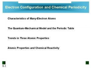 Electron Configuration and Chemical Periodicity Characteristics of ManyElectron