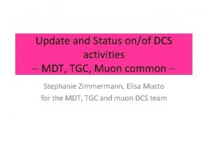 Update and Status onof DCS activities MDT TGC