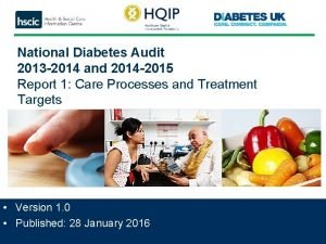 National Diabetes Audit 2013 2014 and 2014 2015