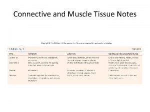 Connective and Muscle Tissue Notes A Connective Tissue