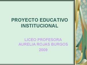 PROYECTO EDUCATIVO INSTITUCIONAL LICEO PROFESORA AURELIA ROJAS BURGOS