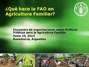 Qu hace la FAO en Agricultura Familiar Encuentro