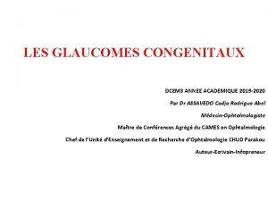 LES GLAUCOMES CONGENITAUX DCEM 3 ANNEE ACADEMIQUE 2019