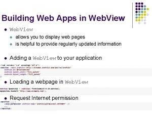 Building Web Apps in Web View l l