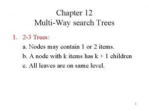 Chapter 12 MultiWay search Trees 1 2 3