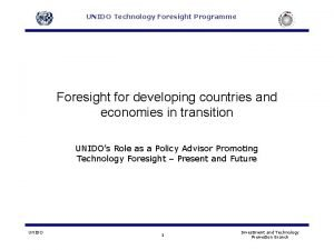 UNIDO Technology Foresight Programme Foresight for developing countries
