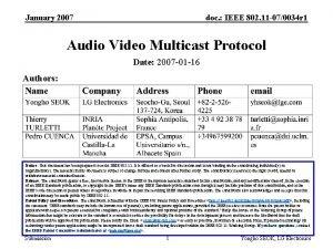 January 2007 doc IEEE 802 11 070034 r