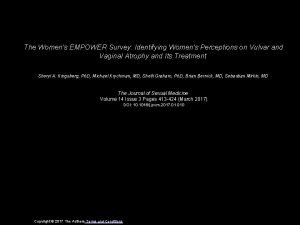 The Womens EMPOWER Survey Identifying Womens Perceptions on