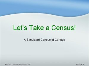 Lets Take a Census A Simulated Census of