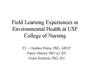 Field Learning Experiences in Environmental Health at USF