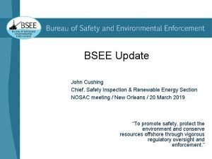 BSEE Update John Cushing Chief Safety Inspection Renewable