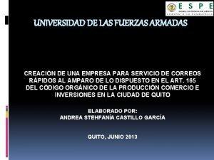 UNIVERSIDAD DE LAS FUERZAS ARMADAS CREACIN DE UNA