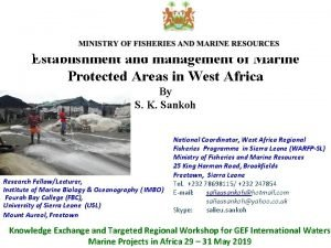 Establishment and management of Marine Protected Areas in