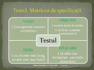 Testul Matricea de specificaii OBIECTIV VALID Corespunde tuturor