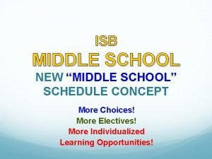 ISB MIDDLE SCHOOL NEW MIDDLE SCHOOL SCHEDULE CONCEPT