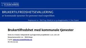 Brukertilfredshet med kommunale tjenester Stein Arve Strand Seksjonsleder