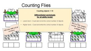 Counting Flies Counting objects 1 10 Differentiated worksheets