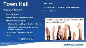 Town Hall Agenda 1 30 2 30 Note