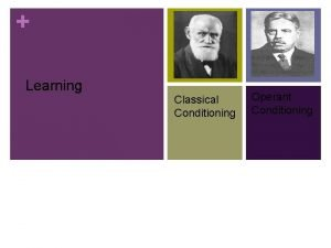 Learning Classical Conditioning Operant Conditioning Learning Objectives Students