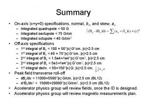 Summary Onaxis xy0 specifications normal bn and skew