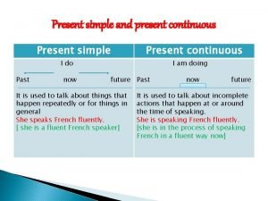 Present simple and present continuous Present simple Present