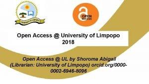 Open Access University of Limpopo 2018 Open Access
