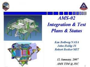 AMS02 Integration Test Plans Status Ken BollwegNASA John