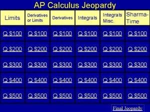 AP Calculus Jeopardy Limits Derivatives or Limits Derivatives