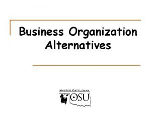 Business Organization Alternatives Organization Alternatives n 1 n