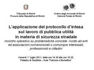 Tribunale di Rimini Procura della Repubblica di Rimini