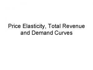 Price Elasticity Total Revenue and Demand Curves Elasticity