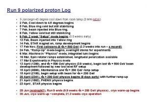 Run 9 polarized proton Log 9 Jan begin