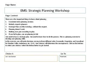 Page Name EMS Strategic Planning Workshop Page Content