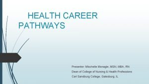 HEALTH CAREER PATHWAYS Presenter Mischelle Monagle MSN MBA