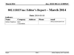 doc IEEE 802 11 130095 r 9 March