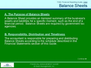7200 Financial Reporting Guide 7232 Balance Sheets A