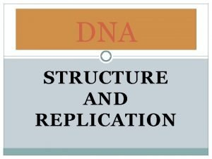 DNA STRUCTURE AND REPLICATION What is DNA DNA
