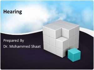 Hearing Prepared By Dr Mohammed Shaat Introduction Hearing