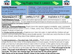 Tag Rugby Year 4 Lesson 1 Challenge 1