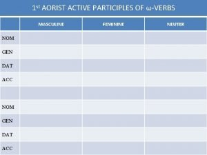 1 st AORIST ACTIVE PARTICIPLES OF VERBS MASCULINE