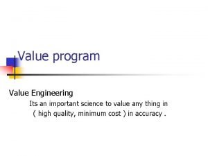 Value program Value Engineering Its an important science