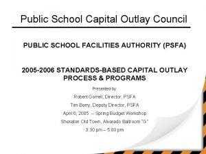 Public School Capital Outlay Council PUBLIC SCHOOL FACILITIES