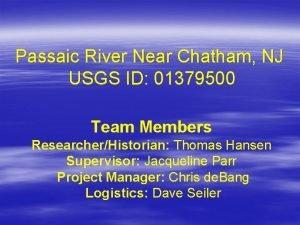 Passaic River Near Chatham NJ USGS ID 01379500
