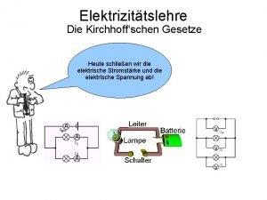 Elektrizittslehre Die Kirchhoffschen Gesetze Heute schlieen wir die