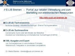 ELIB Bremen Portal zur lokalen Verwaltung und zum
