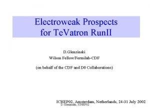 Electroweak Prospects for Te Vatron Run II D