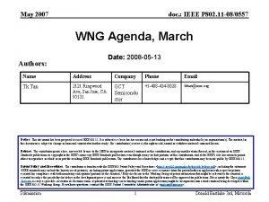 May 2007 doc IEEE P 802 11 080557