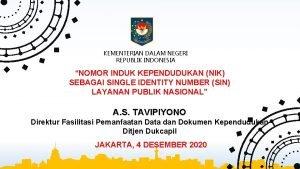 KEMENTERIAN DALAM NEGERI REPUBLIK INDONESIA NOMOR INDUK KEPENDUDUKAN
