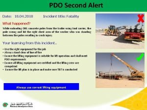 PDO Second Alert Date 18 04 2018 Incident