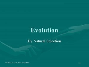 Evolution By Natural Selection SCNATS 1730 XXX Evolution